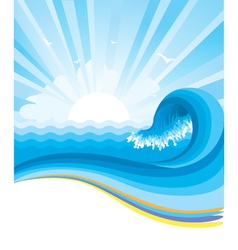 Blue wave in ocean horizon vector