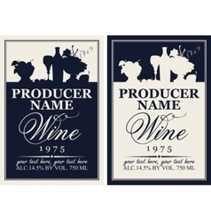 Wine label with the silhouette of a still life vector