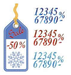 Winter sale sticker with rope vector