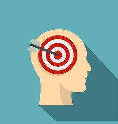 target goal in human head icon flat style vector image
