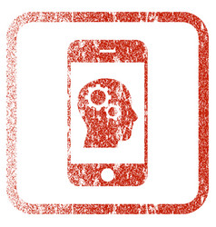 Smartphone intellect gears framed textured icon vector