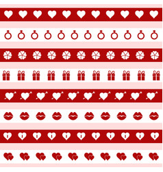 Set of red and white valentines day icons vector
