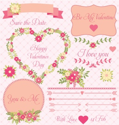 Set of decorative valentines flower design vector