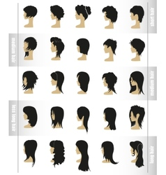 Set of womens hairstyles and haircuts vector