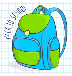 Blue and green school bag vector