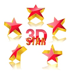 3d red star set vector