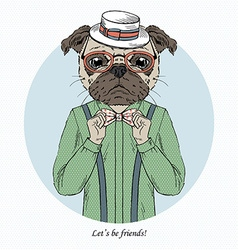 Fashion animal pug doggy hipster vector