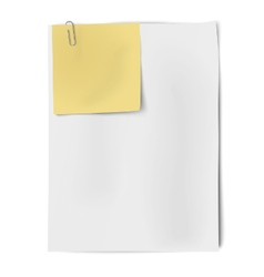 Clipped sheets of sticky note and a4 white paper vector