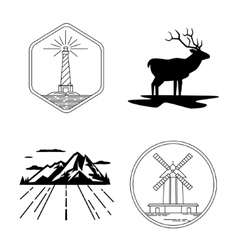 Windmill and lighthouse emblems deer silhouette vector