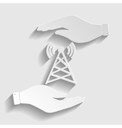 Antenna sign paper style icon vector