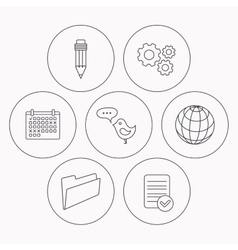 Pencil message and world globe icons vector image