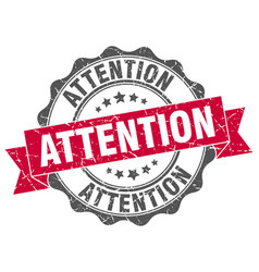 Attention stamp sign seal vector