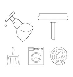 Cleaning and maid outline icons in set collection vector