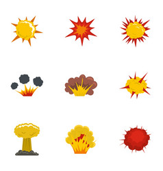 different explosion icons set flat style vector image