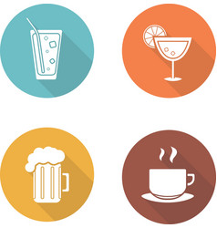 Drinks flat design icons set vector image vector image
