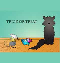 funny black cat little mouse and candies trick vector image