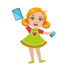 Girl holding tablet and smartphone part of kids vector