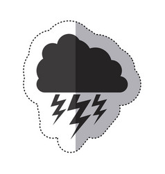 Gray silhouette sticker of cloud with lightnings vector
