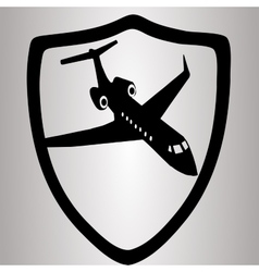 Hiqh quality shield with airplain in suit vector