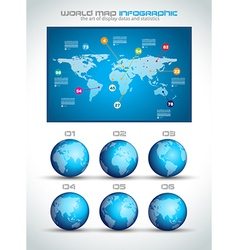 Infographic layout template with world maps vector image