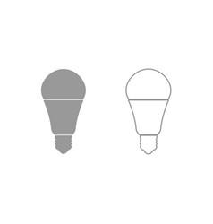Led lightbulb icon grey set vector