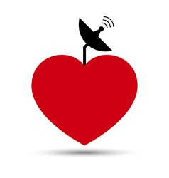 Love heart with satellite dish vector