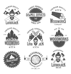 Lumberjack Black White Emblems vector image