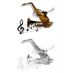 Pattern saxophone and trumpet vector image