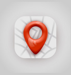 red map pin pointer on map modern app icon vector image