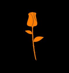 Rose sign orange icon on black vector
