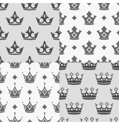 Set of four seamless patterns with crowns vector image