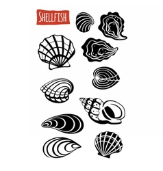 Shellfish black and white vector