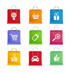 Shopping icon set on shopping bag vector image vector image