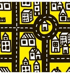 Small town roads seamless pattern vector image