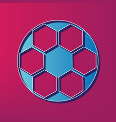 Soccer ball sign blue 3d printed icon on vector