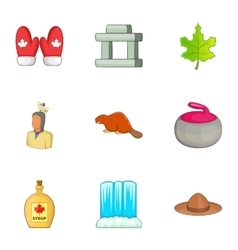 Travel to canada icons set cartoon style vector