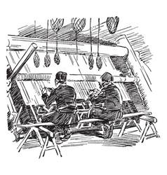 Turkish rug weavers is a two turkish men weaving vector