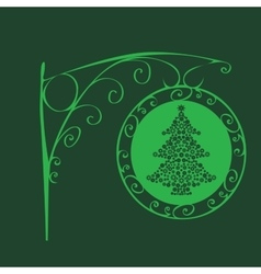 Vintage sign Christmas tree vector image
