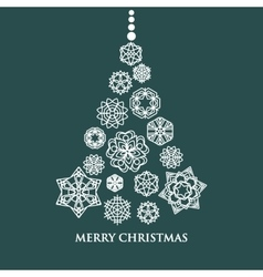 White snowflake Christmas tree on green background vector image
