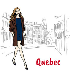 woman in quebec vector image vector image