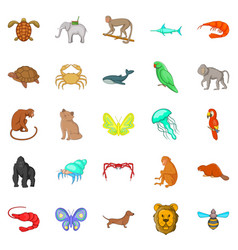 Wood animals icons set cartoon style vector