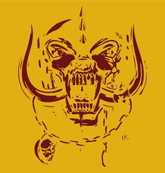 yellow and red skull vector image vector image
