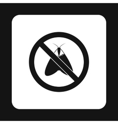 Prohibition sign moth icon simple style vector