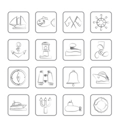 sea and nautical icons vector image