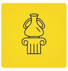 Museum icon antique vase on pillar sign vector