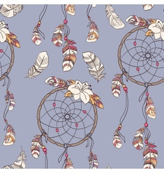 Seamless ethnic ornate dreamcatcher pattern vector image
