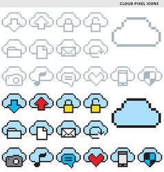 Cloud pixel icons vector