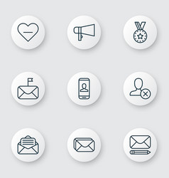 Set of 9 social icons includes edit mail privacy vector