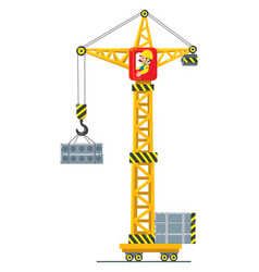 construction crane lifts the load vector image