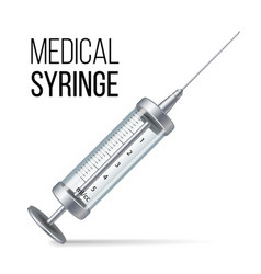 Glass medical syringe isolated  3d vector
